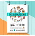 Music festival poster template A4 size line art vector image