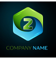 Number two logo symbol in the colorful hexagonal vector image vector image