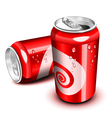 opened and closed red cola can vector image vector image