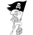 pirate boy line art vector image vector image