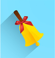 Polygonal bell with ribbon bow modern flat icon vector image