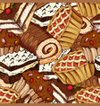 seamless pattern with desserts hand drawn vector image