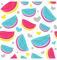 seamless watermelon pattern with hearts isolated vector image