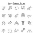 set happy related line icons contains such vector image