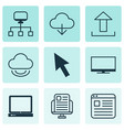 set of 9 world wide web icons includes send data vector image vector image