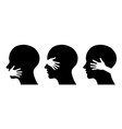 set silhouettes of heads vector image vector image