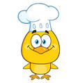 smiling chef yellow chick cartoon character vector image vector image