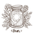 sun in a glass jar the planet of the solar system vector image vector image