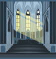 sun rays inside cathedral church or basilica vector image vector image