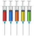 Syringe with liquid medicine inside vector image vector image