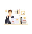 Thinking Man Office Worker In Office Cubicle vector image vector image