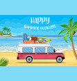 travel van with surfboard and suitcases vector image vector image