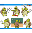 turtle character student cartoon set vector image vector image