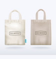two canvas mockup realistic shopping bags vector image vector image