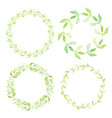 watercolor green leaves circle wreath frame vector image vector image
