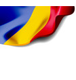 waving flag romania close-up with shadow on vector image vector image