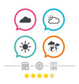 weather icons cloud and sun storm symbol vector image