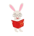 White Rabbit Smiling Bookworm Zoo Character vector image vector image