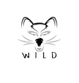 wild cat with eagle eyes design template vector image vector image