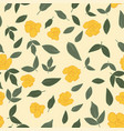 yellow roses green leaves seamless wallpaper vector image vector image