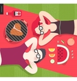 Young couple on picnictop viewvegetarian vs meat vector image vector image