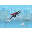 Super businessman dressed as a hero flying over vector image