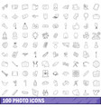 100 photo icons set outline style vector image vector image
