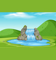 a nature waterfall landscape vector image vector image