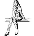 a woman is sitting on a bench in high-heeled shoes vector image vector image