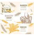 Bakery Banner Horizontal Hand Draw Sketch vector image