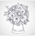 bouquet of chamomile flowers and petunias vector image vector image
