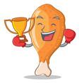 boxing winner fried chicken character cartoon vector image