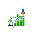business marketing rocket handshake vector image