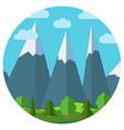 cartoon mountain landscape in circle vector image vector image