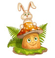 Cartoon mushroom and rabbit vector image vector image