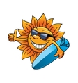 Cartoon sun character with sunglasses and vector image vector image