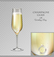 champagne glass with diamond wedding ring vector image vector image
