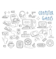 Computer games doodles icon set vector image