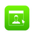 cursor point man on monitor icon digital green vector image vector image