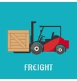 Freight delivery flat icon with forklift truck vector image
