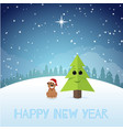 funny puppy near the christmas tree new year vector image vector image
