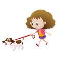 girl walking dog alone vector image