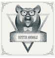 Halftone hipster bear with black Dots vector image