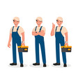 happy repairman or mechanic with a toolbox set of vector image vector image
