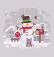 happy snowman in a hat and scarf with a cute vector image