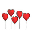 heart shaped balloons line art sketch vector image
