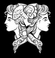 hermes hand drawn artwork with portrait hermes vector image vector image