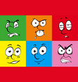 human facial expressions on colorful background vector image vector image