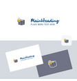 locked box logotype with business card template vector image