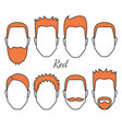 male red hair and face fungus styles types vector image vector image